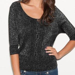 G by GUESS scoop neck LOU cable knit sweater